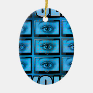 I See You Eye Ball Television Ceramic Oval Decoration