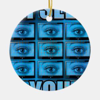 I See You Eye Ball Television Round Ceramic Decoration