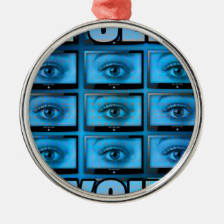 I See You Eye Ball Television Silver-Colored Round Decoration