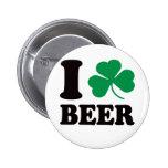 I Shamrock Beer Pinback Button