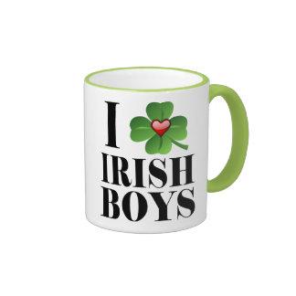 I Shamrock, Heart Irish Boys, St-Patty's Day Cup Ringer Mug