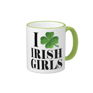I Shamrock, Heart Irish Girls, St-Patty's Day Cups Ringer Coffee Mug