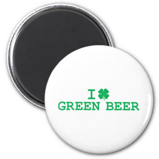 I Shamrock (Love) Green Beer 6 Cm Round Magnet