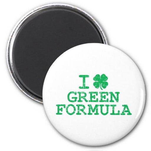 I Shamrock (Love) Green Formula Refrigerator Magnets