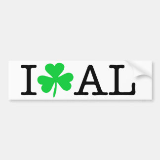 I Shamrock (Love Heart) Alabama AL Bumper Sticker