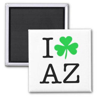 I Shamrock (Love Heart) Arizona AZ Square Magnet