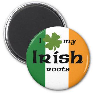 """I """"shamrock"""" my Irish roots 6 Cm Round Magnet"""