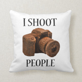 I Shoot People Chocolate Camera Pillow