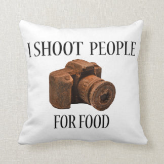I Shoot People For Food Chocolate Camera Pillow