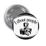 I Shoot People Retro Photographer's Camera B&W 3 Cm Round Badge