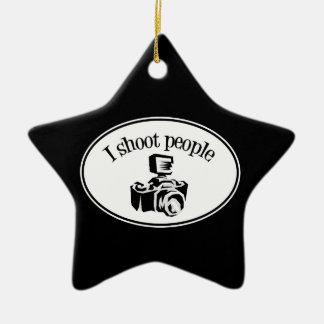 I Shoot People Retro Photographer's Camera B&W Ceramic Star Decoration