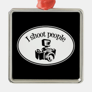 I Shoot People Retro Photographer's Camera B&W Christmas Ornament