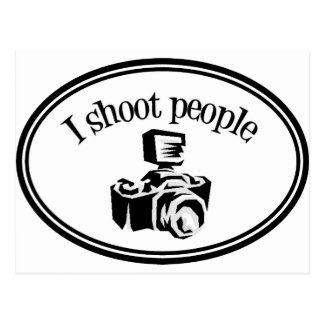 I Shoot People Retro Photographer's Camera B&W Postcard