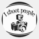 I Shoot People Retro Photographer's Camera B&W Round Sticker