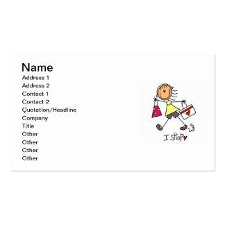 I Shop Stick Figure Girl Business Card Template