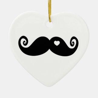 I simply love Moustache Ceramic Heart Decoration