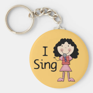 I Sing Female Tshirts and Gifts Basic Round Button Key Ring
