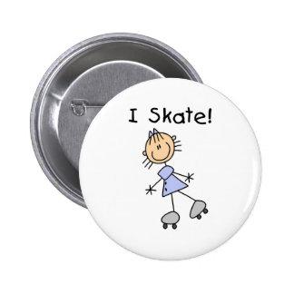 I Skate - Girl Roller Skater Pinback Button