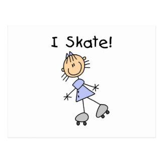 I Skate Girl Roller Skater Postcard