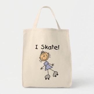 I Skate Girl Roller Skater Grocery Tote Bag