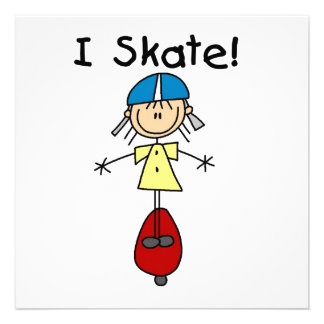 I Skate Skateboarding Girl Invite