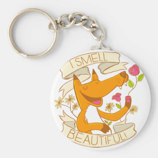i smell beautiful fox with red roses basic round button key ring