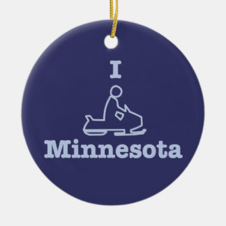 I Snowmobile Minnesota in Blue Christmas Ornament