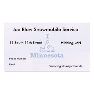 I Snowmobile Minnesota Pack Of Standard Business Cards