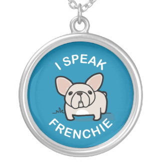 I Speak Frenchie - Blue Silver Plated Necklace