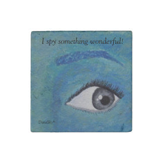 """I spy something wonderful!"" Tile Stone Magnet"