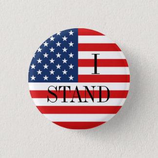 """""""I STAND"""" Patriotic American Flag 3 Cm Round Badge"""