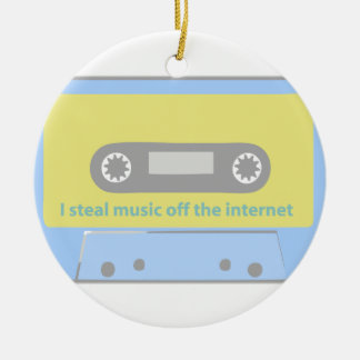 I STEAL MUSIC OFF THE INTERNET CASSETTE ROUND CERAMIC DECORATION