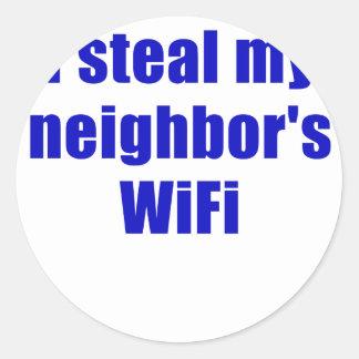 I Steal my Neighbors Wifi Round Stickers