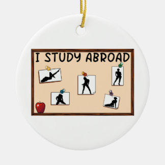 I Study Abroad Round Ceramic Decoration