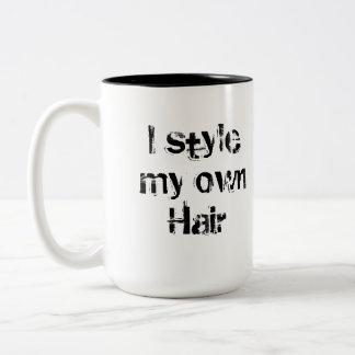 I style my own Hair. Black and White. Two-Tone Coffee Mug