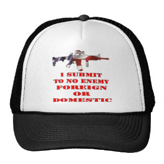I Submit To No Enemy Foreign Or Domestic Mesh Hats