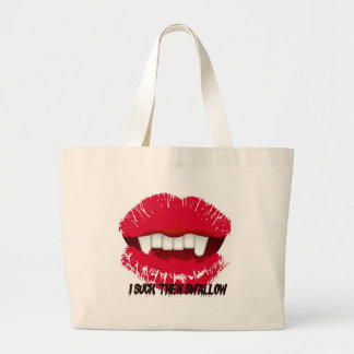 I SUCK THEN SWALLOW VAMP LIPS PRINT CANVAS BAGS