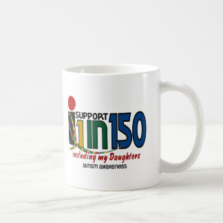 I Support 1 In 150 & My Daughters AUTISM AWARENESS Basic White Mug