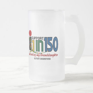 I Support 1 In 150 & My Granddaughter AUTISM Frosted Glass Mug