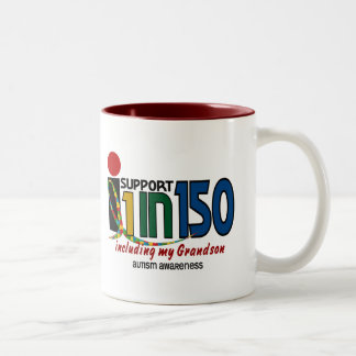 I Support 1 In 150 & My Grandson AUTISM AWARENESS Two-Tone Mug