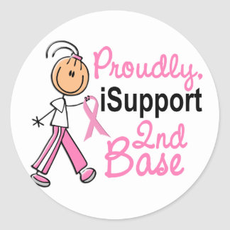 I Support 2nd Base SFT Breast Cancer Classic Round Sticker