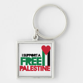 I support a free palestine Silver-Colored square key ring