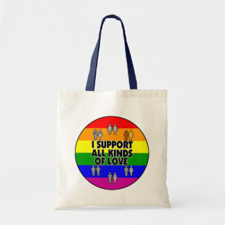 I Support All Kinds of Love Gay Canvas Tote Bag