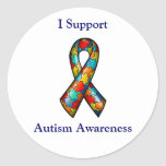 I Support Autism Awareness Round Stickers