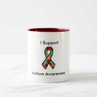 I Support Autism Awareness Two-Tone Mug