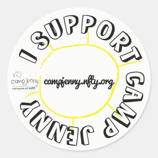 I Support CJ Circle White Classic Round Sticker