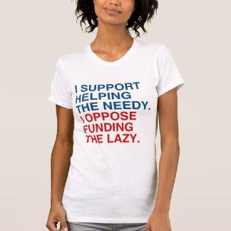 I SUPPORT HELPING THE NEEDY T SHIRT