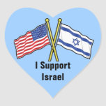 I Support Israel Stickers In Heart Shape