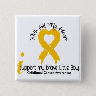 I Support My Brave Little Boy Childhood Cancer 15 Cm Square Badge