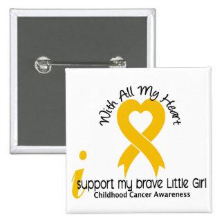 I Support My Brave Little Girl Childhood Cancer 15 Cm Square Badge